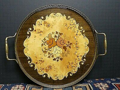 Fabulous Vintage Mahogany Fruitwood Inlay Brass Pierced Serving Tray Italy WOW!