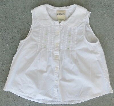 Vtg LAURA ASHLEY White Cotton Girl's Blouse Age 8 Daisies Mother & Child / b45