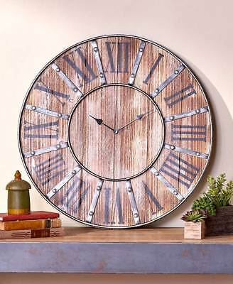Oversized Rustic Country Farmhouse Wall Clock Distressed Wooden Vintage Inspired