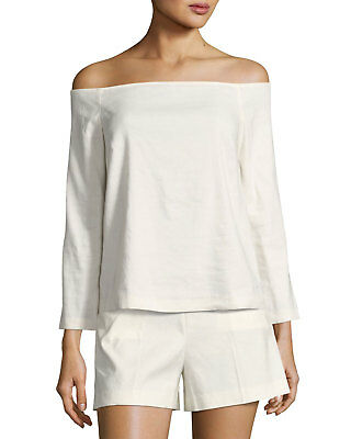 b17354ce7ccdb4 $255+NEW Theory Aprine Off-the-Shoulder Shell White Stretch Linen Top Sz