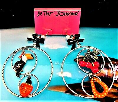 Betsey Johnson RARE Earrings RIO Hoop TOUCAN Pave Crystal LUCITE FRUIT Cherries