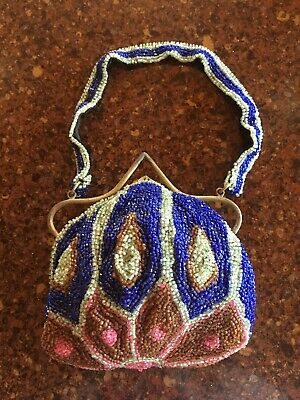 Antique multicolor Beaded Purse Art Nouveau Art Deco Metal Handle Clasp