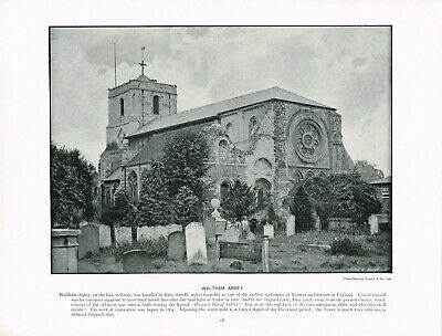 Waltham Abbey Church Epping Forest Essex Antique Old Picture Print c1896 TQL#248