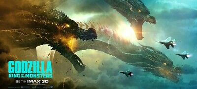 Godzilla: King of the Monsters movie Vinyl POSTER 40x18 King Ghidorah banner