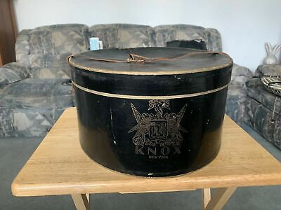 Antique KNOX New York Round Oval Hat Box W Leather Strap & Hat Holder