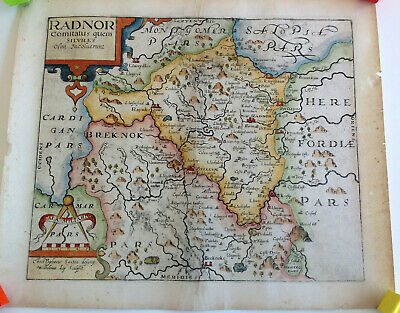 1610-1637 Antique Map of Radnorshire, Wales (Saxton & Kip)
