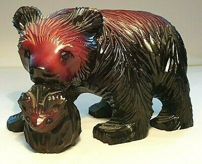 Japanese Hand Carved Ainu Mother Bear with Cub Sculpture S. Takahashi L.A.