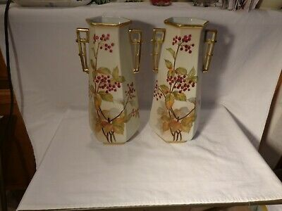 """Stunning Pair Of Nippon Hp Bittersweet Gold Satin Two Handled 12"""" Vases  -  Nr"""