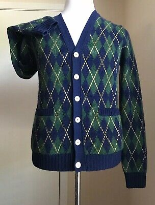 3fb2d300b New $1255 Gucci Mens Cardigan Cashmere Wool Sweater Blue/Green Size S Italy