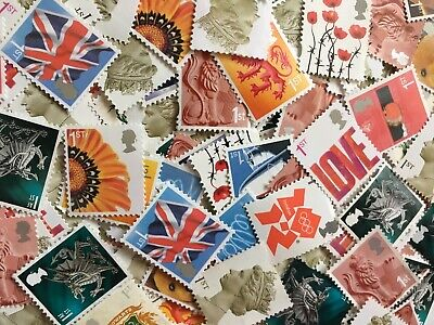 150 x UNFRANKED 1st/FIRST CLASS STAMPS OFF PAPER (NO GUM) FACE VALUE £105
