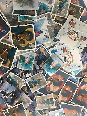 100 x UNFRANKED 2nd/SECOND CLASS XMAS STAMPS OFF PAPER (NO GUM) FACE VALUE £61