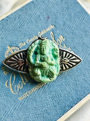 Unusual Vintage Art Deco Carved Turquoise Oriental? Figure on Silver Brooch Pin