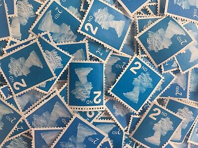 100 x UNFRANKED 2nd/SECOND CLASS BLUE STAMPS OFF PAPER (NO GUM) FACE VALUE £61