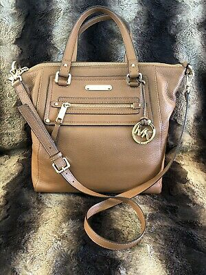 0f5760137cc67a Michael KORS Camel Leather GILMORE LARGE TOTE ZIPPER TOP- Retail  $398-STUNNING!