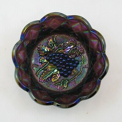 Imperial Purple Heavy Grape Carnival Glass Round Berry Bowl Purple Grapes Bw210B