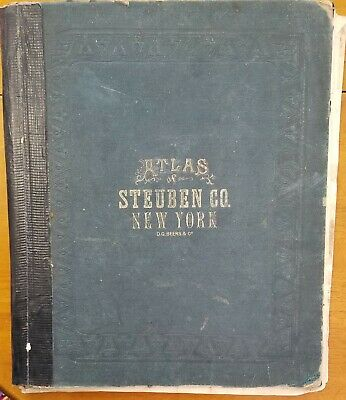 1873 Beers Atlas of Steuben County New York Corning Glass Works on map