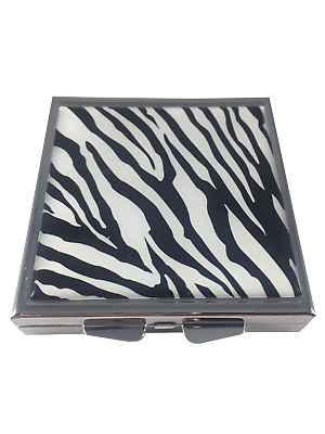 Zebra Print Square Daily Four Section Small Pocket Travel Size Pill Box Case
