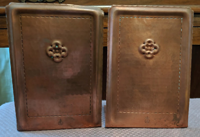 "Pair Roycroft Hand Hammered Copper Arts & Crafts Mission Style 8.5"" Bookends"