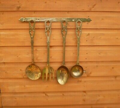 Very Large Antique Solid Brass Kitchen Utensils-Possibly Victorian