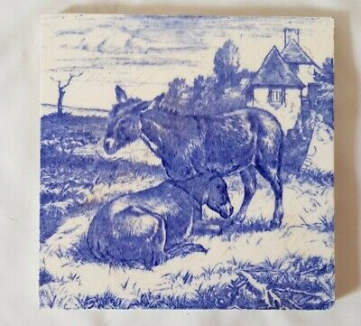 Charming Minton William Wise Blue & White Donkeys Scene Antique Tile
