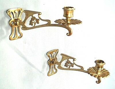 PAIR OF EARLY 20th CENTURY ART NOUVEAU SWING ARM BRASS CANDLE SCONCES