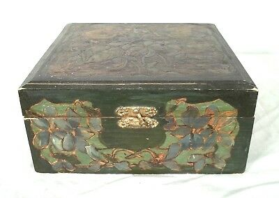 Vintage Art Nouveau Carved And Painted Desk Jewelry Trinket Box