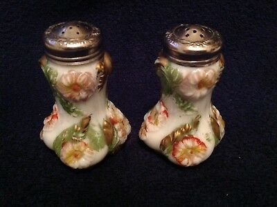Pair of Antique Fancy Decorated Glass SALT & PEPPER SHAKERS w/ Embossed Flowers