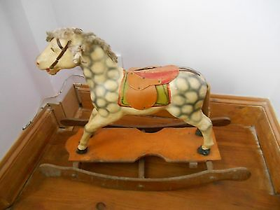 Rare French Antique Rocking Pull Along Horse - Timeworn Loved & Charming