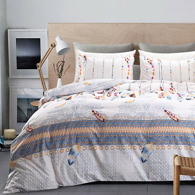 Comfort HouZ Feather Printed Duvet Cover Bedding Set With Pillow Case King/Queen