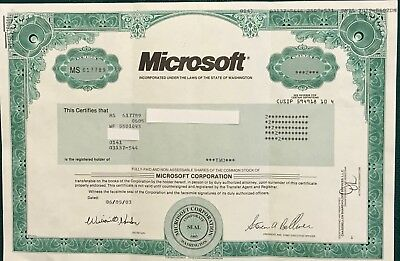 Microsoft Stock certificate ( 2 shares)