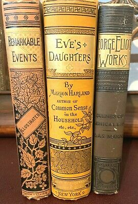 ANTIQUE 1880's VICTORIAN BINDING BOOK LOT of 3 ~ ALTA EDITION ~ GEORGE ELIOT