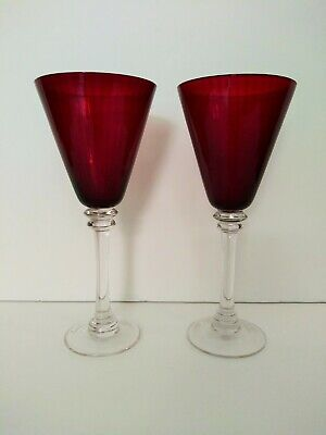 Vtg Ruby Red Crystal Large Ribbed Tall Wine Glasses Goblets Set Of 2 Clear Stems