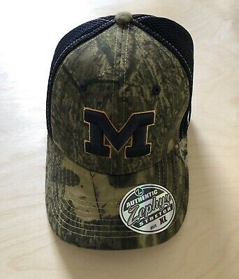best website 9e6c0 fc15a Michigan Wolverines Mossy Oak Camo Authentic Zephyr Strech Fitted Hat Cap Xl
