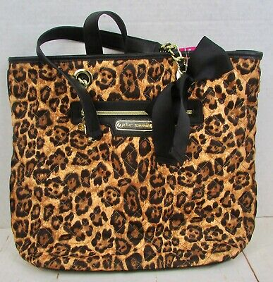 043f350db330 Betsey Johnson Heart Quilted Tote Handbag Animal Print Leopard MSRP $98 New