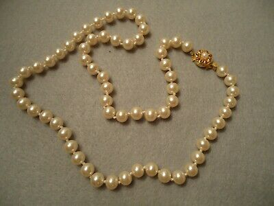 Vintage Elegant Lustrous Creamy Faux Knotted Pearl Necklace & Fancy Flower Clasp