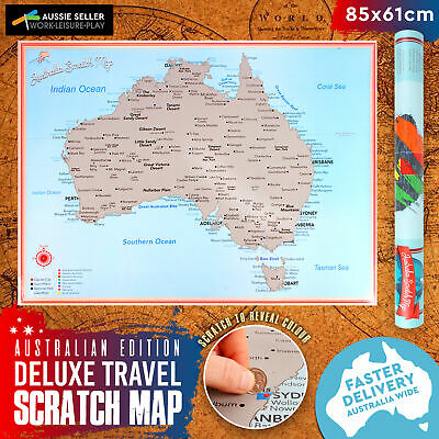 Scratch Off Map of Australia Large Glossy Personalized Travel Poster 85x61cm