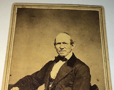Antique Victorian American Civil War Era Fashion 67 Year Old Man CT CDV Photo!