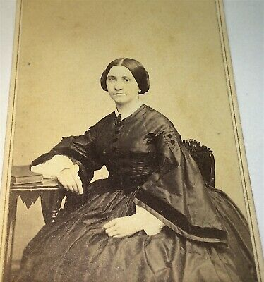 Antique American Civil War Era Fashion Lovely Womant! Springfield MA CDV Photo!
