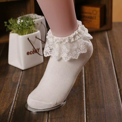 Vintage Lace Ruffle Frilly Ankle Socks Ladies Girls Princess Cotton Short Socks
