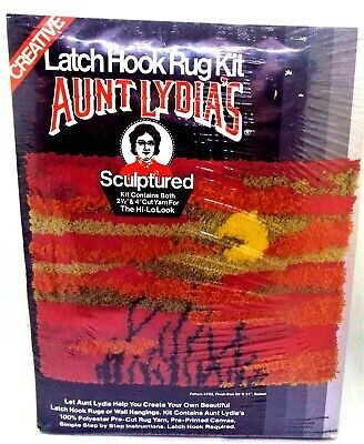 Aunt Lydia's Sculptured Latch Hook Rug Kit Sunset 20x27 Sealed Package 3d look