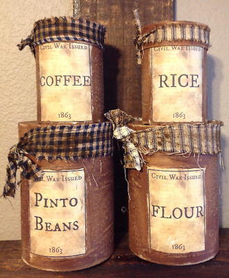 Primitive Americana Civil War Dry Goods Canister set of 4 Summer 4th of July