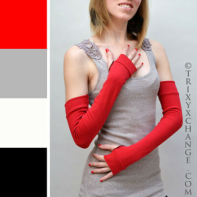 Womens Red Long Cotton Fingerless Arm Warmers Gloves Winter Warm Indoor Driving