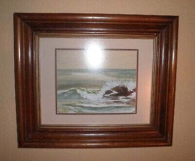 Lovely California Plein Air Impressionism Pacific Seascape Watercolor Painting