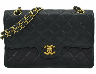 fd7a5c8f5162 CHANEL Matorasse 23 Quilted CC W Double Flap Chain Shoulder Bag Black  Leather