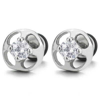 Mens Womens Stainless Steel Dome Stud Earrings with Cubic Zirconia, Screw Back