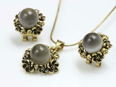 Gray Bead Pendant Brass Plated Choker Chain Necklace Stud Earrings Set  A180