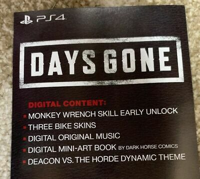 Days Gone Digitial Deluxe Content From Collector's Edition Sony Ps4 (No Game)