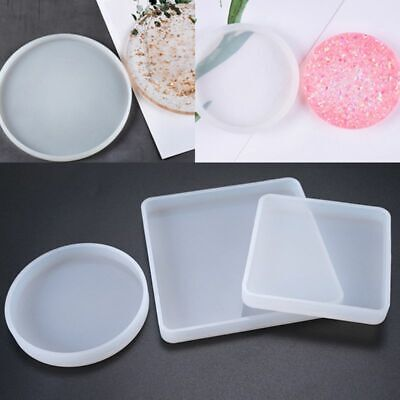 3Pc Crystal Silicone Mold DIY Epoxy Resin Mirror Square Round Storage Tray Mould