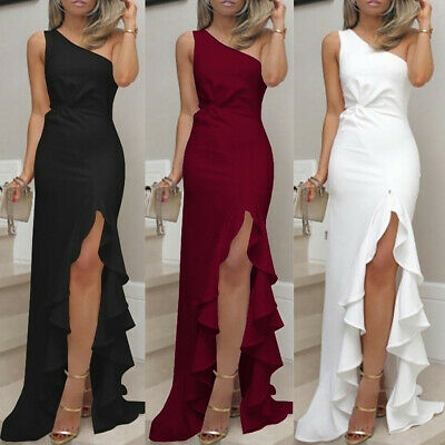 Women Long Ruffles One Shoulder Evening Dresses Slit Cocktail Formal Dress CA