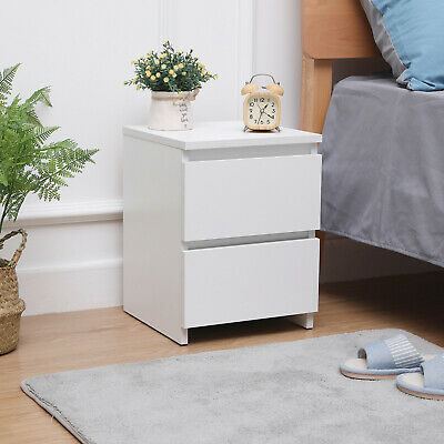 Modern Bedside Table Cabinet with 2 Drawers Nightstand Bedroom Furniture White